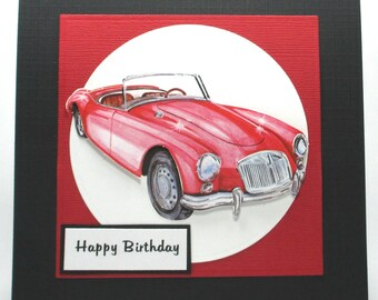 Birthday card for him, antique cars, birthday cards, men's birthday cards, birthday card for husband, birthday card for grandfather