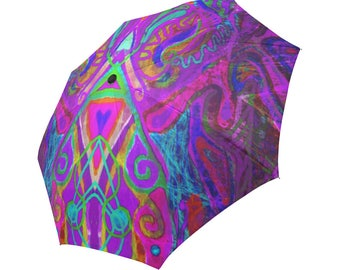 3D effect-Haiti bright colors- Large and automatic foldable umbrella- Rain and sun- customizable-Handpainted design