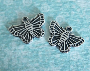 NEW 2 Silver Butterfly Charms 3302