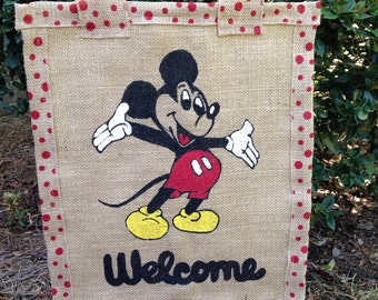 Mickey mouse  or Minnie mouse garden flag