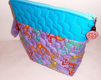 Quilted FABRIC COSMETIC BAG/Ditty Bag/Wide Mouth Opening/Zippered Cosmetic Bag/2 Toned Quilted Cosmetic Bag/2 Use As Travel Storage