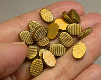 Vintage Brass Stampings OVAL Corrugated Jewelry Ribbed Pattern New Old Stock  10x7mm pkg 20  M84