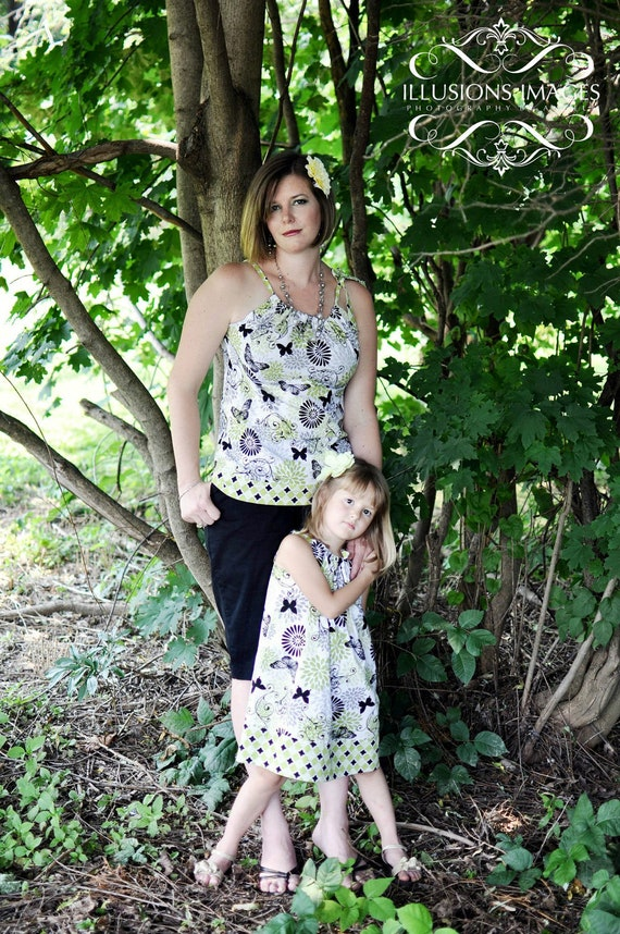 Mother Daughter Matching Outfits, Handmade Outfit, Greenery Color, Womens Blouse, Girts Dress,Infant dress, Toddler Dress,Mothers Day outfit