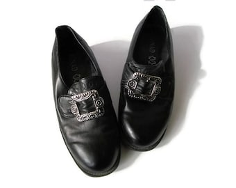Norwegian BUNAD Shoes Black Leather Shoes with Silver Metal Buckles Boys Girls Traditional Norway National Costumes Size EU 33