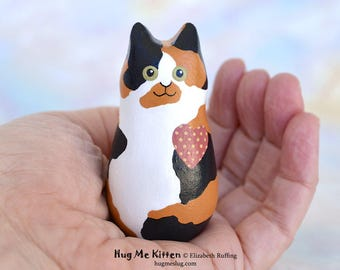 Handmade Kitty Cat Figurine, Miniature Sculpture, Calico, Gold, White, Black Hug Me Kitten, Animal Totem Charm Figure, Personalized Tag