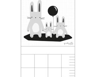 Barre pour pépinière - enfants de lapin noir