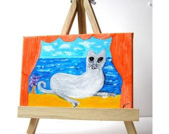 Cat art, Grey Windowsill Kitty, folk art, cat on windowsill, cattitude, cat lovers gift, tulip and cat, cat painting, mixed media, gift 25