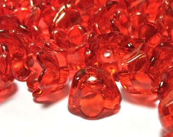 Red flower Beads, 10mm red flower bead, red bell flower bead, red acrylic Flower beads  (50)
