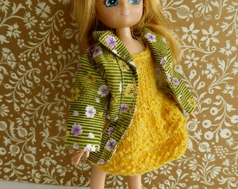 3 Piece LOTTIE DOLL OUTFIT - vintage coat plus handknit dress and beret - perect for all ultra-skinny 7-8in/17-20cm  dolls