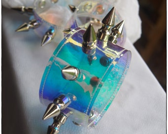 Thick Holographic Cuff with Spikes - Ready to Ship - Pastel Goth Rave Punk Cyber Festival Bracelet
