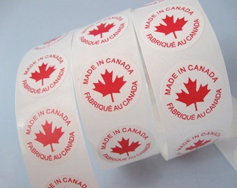 "50 Made In Canada Labels - round sticker tags 1""  (XS100)"