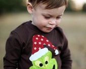 Boys Christmas holiday applique long sleeved shirt   RE...