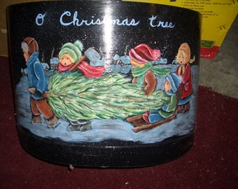 """hand painted stovepipe with  """"Bringing home the tree"""" scene"""