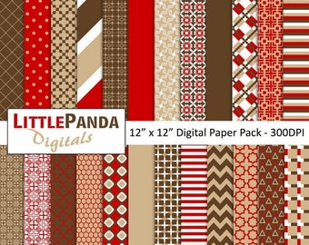 70% OFF SALE Tan Red Brown Digital Paper Pack 24 jpg files 12 x 12  - Instant Download - D357