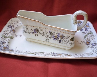 Vintage Porcelain Gravy Boat and Plate by John Maddock & Sons-England-1950's