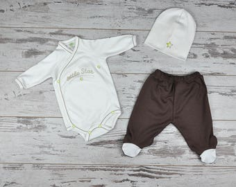 Custom Organic Baby Set, Custom Print, Gift Option, Baby Take Home Outfit, 1st Outfit, Going Home Outfit, Stylish Baby Clothes