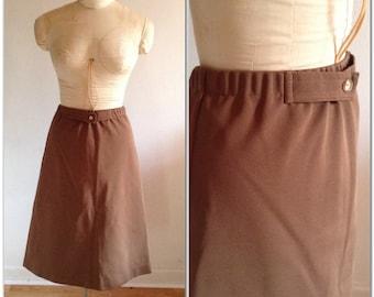 1970s Brown A-line Vintage Skirt // small, medium