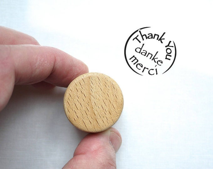 Thank You, Danke, Merci Rubber Stamp with Wooden Handle