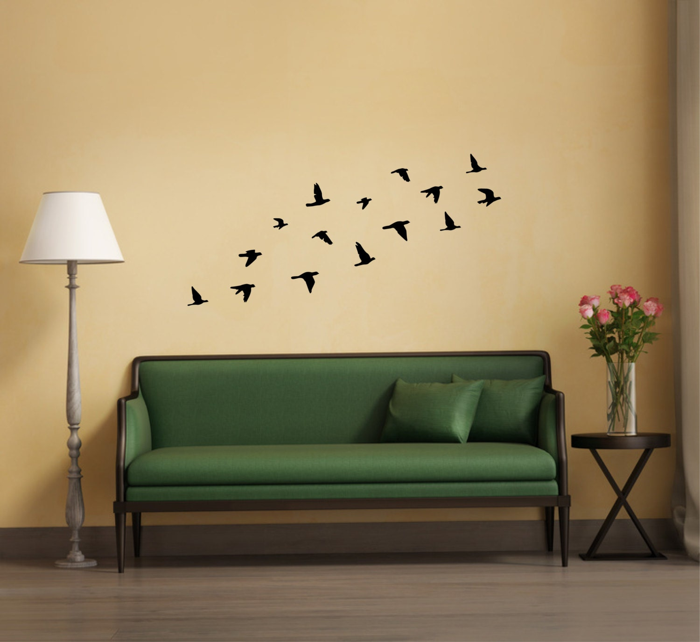 Bird wall decor flying birds wall sticker silhouette flock of