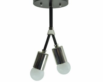 NEO - Modern Industrial Ceiling Light: Black & Nickel, UL Listed
