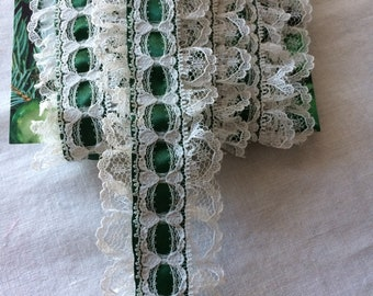 "New Dark Green Satin and White Lace Trim 1-3/4"" wide x 2-1/2 yards long"