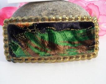 Vintage Green Brown Velvet Barrette Hair Clip