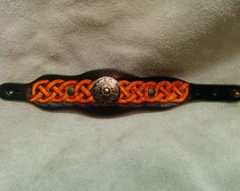 Leather Bracelet, inspiration, Celtic, Brown and tan yellow, fully engraved and painted by hand
