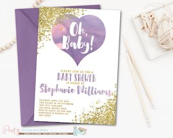 Purple and Gold Baby Shower Invitation, Watercolor Baby Shower Invitation, Purple Baby Shower Invitation, Lavender, Glitter, Glam
