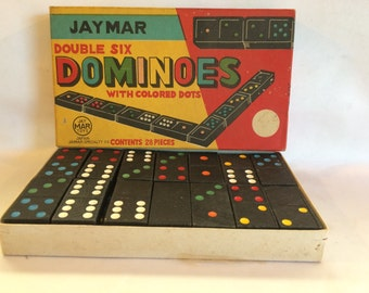 Vintage Jaymar Double Six Dominoes with Colored Dots