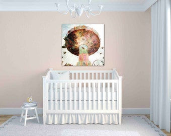 carnival decor - pastel modern nursery wall art - carnival ride print - electric swings photo