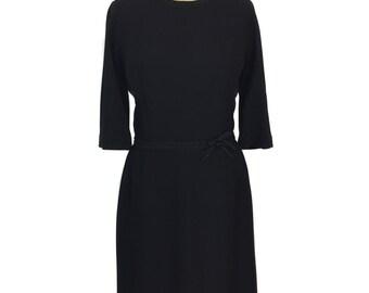 vintage 1950s little black dress / R & K Originals / wiggle dress / rayon / cocktail dress / lbd / women's vintage dress / size large