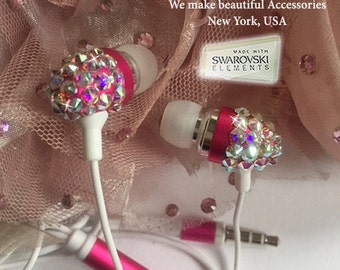 Sparkle Lovely Princess Swarovski Crystal Earphone Headphone Earbuds for iPhone iPod iPad or Any 3.5mm Plug