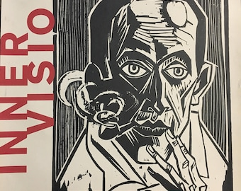 Inner Visions German Prints from the Age of Expressionism at the Tacoma Art Museum poster, Max Pechstein Self Portrait with Pipe, Woodcut