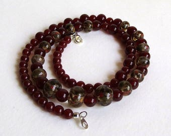 Dark Dark Red Agate and Lampwork Beads Necklace, Smokeylady54