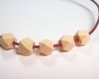 set 5 bead geometric polygon * 1 cm * natural wood