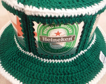 Heineken CanHeads Beer Can Hat - Paddy Green with White trim - 6 can panels around the hat