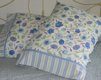 Pillowcase Pair, Turquoise Blue with Mauve and Green Floral, Shabby Chic, Upcycled, Quiltsy Handmade