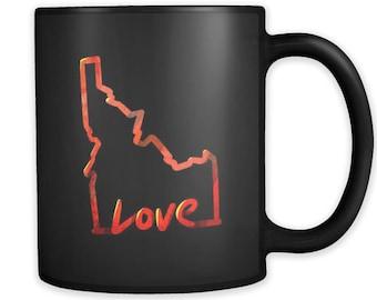 Love Idaho State Flag Map Outline Black 11oz Mug