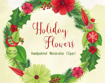 Watercolor Christmas Clipart, xmas graphics, holiday wreath clip art, Christmas watercolour florals by SLSlines