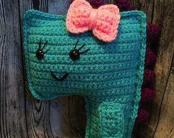 Crocheted Blue Dinosaur - Girl Dinosaur - Handmade - Amigurumi - Stuffed Animal