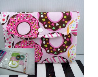 Planner zipper pouch, planner accessory, back to school, fold up case, Planner vinyl pouch, planner pencil case, organizer pouch, donuts