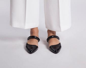 30% off Summer Sale, Black Slip on mules, Leather Sandals, Flat shoes, Leather Mules, Open Back Sandals, Slide Sandals, Summer Shoes