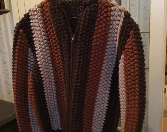 SPRING SALE! Vintage cozy women's handknit rust, tan and brown cardigan sweater (A330)