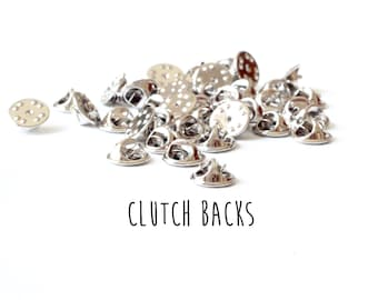 50 pieces - Clutch Backs - Pinch Clutches for Tie Tacks - Mix and Match Findings
