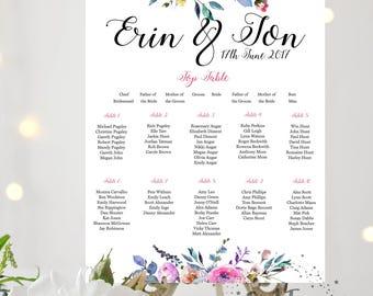 Floral Peonies Personalised Printable Wedding Table Plan, Downloadable Seating Plan, Digital file, Summer custom print, boho Seating Chart