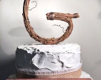 Letter G Twig Topper, G Standard Grapevine Topper, Rustic Standard Cake Topper, Rustic Wedding Cake Topper, Natural, Handmade Cake Top