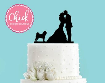 Couple Kissing with Shiba Inu Dog Wedding Cake Topper
