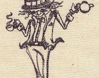 Alice in Wonderland Mad Hatter Embroidered Flour Sack Hand/Dish Towel