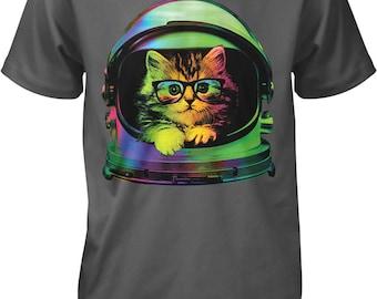 Space Kitten, Rainbow Astronaut Helmet, Galaxy Men's T-shirt, NOFO_00371