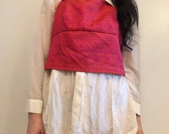 90s fushia indian tapestry halter tank, tie-back lace-up summer crop top, large - vintage -
